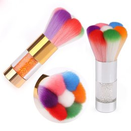 rhinestone nail art designs Promo Codes - Tamax Special Design Mixed Nail Art Dust Brush Cleaner Gold Handle Nylon Brush Colorful Soft Rhinestone Decoration Hot