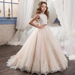 2019 vestidos de niña estampado floral Elegante vestido de las niñas de las flores de los niños de largo Maxi Lace Tulle vestido para la boda formal de la fiesta de las niñas Vestidos