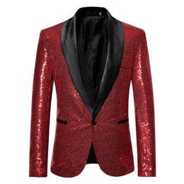 Il rivestimento del mens adatta i sequins online-Solido paillettes con Button Designer Stage Suit Jacket Moda singolo pulsante Mens Blazer Plus Giacca Hommes