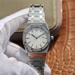 Royal Oak Diamante Relógio De Luxo Senhoras Moda Calendário À Prova D 'Água Relógio De Quartzo Designer Sapphire Cinto De Aço Relógio Premium de