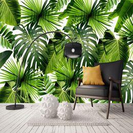 Fondo de pantalla de hojas verdes online-Custom 3D Mural Wallpaper Sudeste de Asia Tropical Rainforest Banana Leaf Foto de fondo Murales de pared No tejido Green Wallpaper Modern