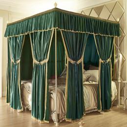 set di lenzuola di lusso Sconti New Green Pink Grey Palace in stile europeo Luxury Three Open Door Palace Zanzariera Letto Valance Decorazione della stanza Set biancheria da letto