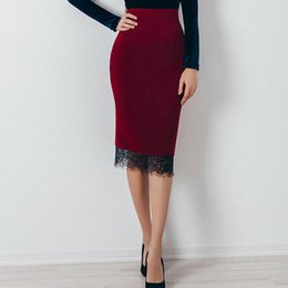 84d9bf0222743 Elegant Wine Red High Waist Lace Pencil Skirt 2018 Autumn Fashion Tight  Patchwork Mid calf Vintage Bodycon OL Ladies  Skirts