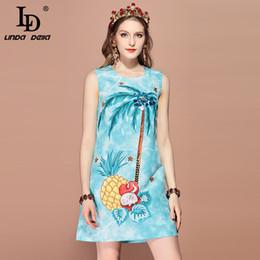 line piante Sconti LD LINDA DELLA 2019 Fashion Runway Summer Dress Donna senza maniche casual Plant fruit Print Beading Elegante mini dress vestidos