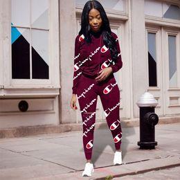 Vêtements de sport décontractés pour femmes en Ligne-Survêtements de sport Championnes + Pantalons 2 Piece Suit Sport Suit Printemps Eté Casual Pull Pantalon Tenues Tenue de Sport Sweatsuit Bon C3255