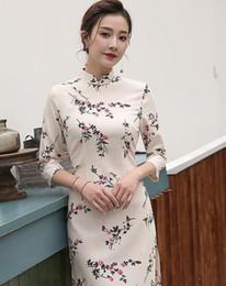 Nuovo cheongsam moderno del vestito dalla ragazza dolce moderna di cotone bianco di tela da