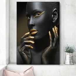 Pitture di arte sexy della ragazza online-1 Pz Sexy African Girl Canvas Art Dipinti Poster e stampe Moderne Golden Lips Pop Art Stampe su tela per soggiorno No Frame