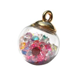 magische wasserkugeln Rabatt DIY Schmuck Accessoires Transparent Glas Hängen Farbige Wasser-Diamant-Goldbeschichtete Hohl Dropping Magic Ball Ohrringe Beads