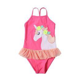 2019 dessins de broderie pour bébés DHL petite fleur cheval broderie douce mignonne à volants filles enfants maillots de bain nouveau design bébé filles Licorne maillot de bain maillot de bain une pièce dessins de broderie pour bébés pas cher