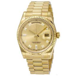 Relojes reales online-Reloj de calidad op. DÍA FECHA mecánico 40 MM hombres roble real reloj Bisel de acero inoxidable Reloj de pulsera de acero inoxidable