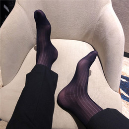 calcetín de seda masculino Rebajas Calcetines de seda Sheer Thin Sexy Softy Slip Men Vestido formal Calcetines de seda Gay Hombre Sexy Marca