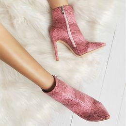 botas de serpiente Rebajas Tacones altos botines con cremallera serpiente dedo del pie puntiagudo PU zapatos de tacón fino mujer botas de invierno 014C2411 -4