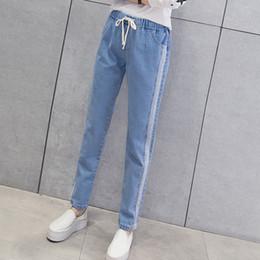 Boyfriend Kadınlar için Kot Artı Boyutu, Yüksek Bel Kore Moda Streetwear Bayan Jeans, Tam Boy Elastik Bel supplier korean womens fashion jeans nereden kore bayanlar moda kot tedarikçiler