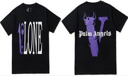 Hommes vêtements rouges en Ligne-Vlone x Palm Angels T-shirt Hommes Femmes t-shirt T-shirt Harajuku Hip hop Streetwear Marque Été Coton Vêtements Tees Tops Tops Violet Rouge Imprimé