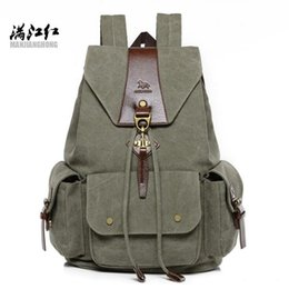 backpack factory Coupons - Factory Wholesale brand men handbag multi-functional canvas backpack retro flip type casual backpack large canvas student bag