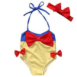 2019 weiße kinder bikinis Kind Baby Mädchen Schneewittchen Bowknot Bikini zweiteiliger Badeanzug Badebekleidung Badeanzug Schwimmen schwimmbar günstig weiße kinder bikinis