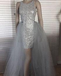 Elegante elegante vestidos de noite on-line-2019 Chic sliver curto Vestidos de baile com saia destacável elegante Lantejoulas jóia no pescoço longo trem custom made formais vestidos de festa à noite vestir