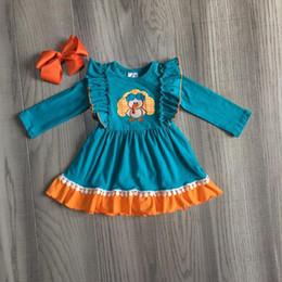 Vestidos de inverno laranja on-line-fall winter Thanksgiving dress jade orange turkey embroidered knee length dress kids wear girls boutique cotton clothes with bow