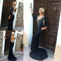 farbe prom kleider ärmel Rabatt 2019 Low Back Prom Kleid Mit Langen Ärmeln Gute Qualität Schwarz Farbe Chiffon Bodenlangen Formale Abendgesellschaft Kleid