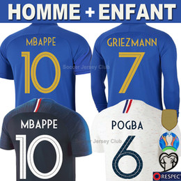 maillot de football orange Promotion Maillot de foot France 100e anniversaire 100 years anniversary GRIEZMANN MBAPPE POGBA 2019 Manche Longue DEMBELE KANTE nationale hommes enfants femmes soccer jersey football shirt