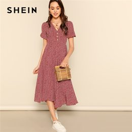 1bb2d0dd26a SHEIN Button Front Allover Print V-Neck Dress Women 2019 Posh Summer  Burgundy A Line Short Sleeve Fit and Flare Dresses