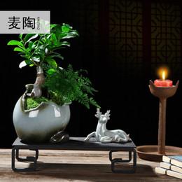 2019 металлические плантаторы Zen Creative Керамический горшок для цветов Простая индивидуальность Бытовые украшения в горшках Pteridium Pennisetum Plants in Jiuli