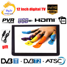 12 zoll hdmi online-LEADSTAR D12 12-Zoll-LED-TV Digital Player AC3 DVB-T T2 ATSC Analog Digital Portable TV Unterstützung HDMI USB-TF-TV-Programme Auto-Ladegerät Geschenk