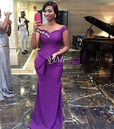 2019 abito che scorre l'impero 2019 New Purple Mermaid Abiti da damigella d'onore Spalla Peplo Sweep Train Appliques Garden Paese Abiti da sposa da ospite Vestito da damigella d'onore