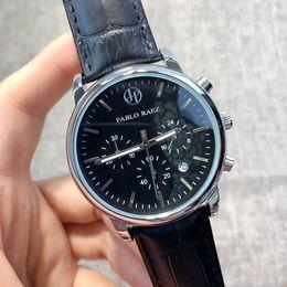 Regalos de cuero para los hombres online-Todos los dial Work Men Date Watch Acero Relojes de pulsera de cuarzo reloj de cuero Reloj de lujo Relogies de calidad superior para hombres Relojes Reloj de regalo
