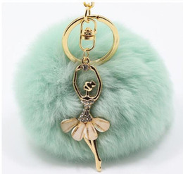 petites boucles d'oreilles en diamant Promotion Real Rabbit Fur Ball Keychain Soft Fur Ball Diamond little angel Key Chains Ball Poms Plush Keychain Car Keyring Bag Earrings Accessories-P
