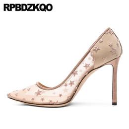 2019 eleganti scarpe nude nude tacco alto abito in pizzo nuove scarpe da donna eleganti maglia slip on stiletto taglia 4 34 pumps scarpin prom tacchi alti chic punta a punta 2019 nuda