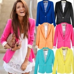 Women New 2019 Candy Color Jackets Suit Slim Yards Ladies Work Wear Jacket da8ae7dd7
