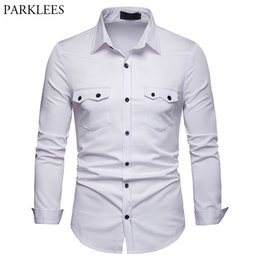 0e989cd66ba9 Double Pocket White Men Shirt 2019 Brand New Slim Fit Long Sleeve Mens Drss Shirts  Casual Button Down Male Social Shirt Camisas