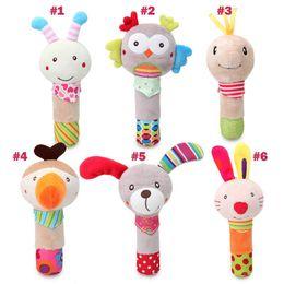 15-18cm Baby spielt Handstab Plüschspielzeugkarikaturtierhundeeulen-Kaninchenbienenhandwippenspielzeugbaby handbell Großverkauf von Fabrikanten