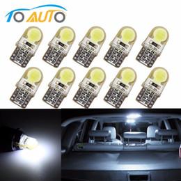 Bombilla pc 194 online-10 piezas Auto T10 Blanco puro 194 W5W 168 COB 8-SMD Silica Car LED Super brillante Turn Side License Plate Light Lamp Bulb DC12V