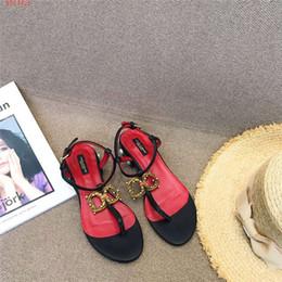 2019 sandalias planas rojas talla 35 Sandalias de espiga nuevas sandalias negras y rojas planas de las sandalias de las mujeres proveedor original originalización temperamento clásico tamaño 35-41 rebajas sandalias planas rojas talla 35