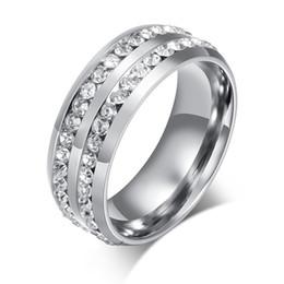 18-каратное кольцо из белого золота Скидка Горячие Женские Мужские Моды Двойные Ряды Стразами Белого Золота Цвет Титана Стали Свадебные Украшения Кольцо