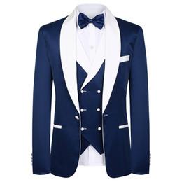cravatte blu navy per il matrimonio Sconti Smoking blu dello sposo dello sposo di alta qualità Risvolto Groomsmen Best Man Abiti Abiti da uomo Mens (Jacket + Pants + Vest + Tie)