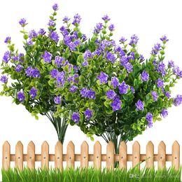 2019 enfeites de natal de 12 polegadas Flores artificiais Ao Ar Livre Planta Arbustos Folhas De Plástico De Buxo Falso Casquinha Janela Verdura Jardim Quintal Decoração Do Casamento Do Jardim