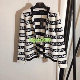 2019 traje a medida contraste De gama alta mujeres niñas de doble botonadura chaqueta de punto chaquetas de rayas botones en relieve camisa casual blusa diseño de moda personalizado de lujo superior traje a medida contraste baratos