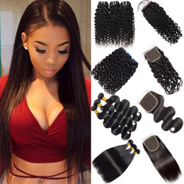 Cheveux humains péruviens 3 faisceaux avec fermeture 100% non transformés droits profonds bouclés corps vague de vague de cheveux vierges paquets avec fermeture à lacets ? partir de fabricateur