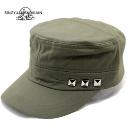e1992a363 BINGYUANHAOXUAN Men Baseball Caps Rivet Logo Flat Top Hats Cotton Snapback  Flat Cap Army Cadet Hat Women Gorros Hombre Hip Hop
