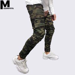 Pantalons cargo jeans slim hommes en Ligne-Moomphya 2019 New Camo poche skinny jeans hommes Streetwear hip hop fermeture éclair camoflage hommes jeans Stylish Cargo pants biker