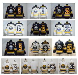 Maglia NHL Buffalo Sabres 50th Season Third White 9 Jack Eichel 26 Rasmus Dahlin 53 Jeff Skinner White Blue Maglie cucite per hockey da