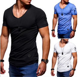 mens wholesale designer clothes Promo Codes - Men T-shirts Slim Men's Short Cotton Bottoming Blouses Clothing T Shirts Hip Hop Mens Designer T Shirts