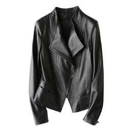 3b967e1ae5b6 leather jackets women mandarin collar 2019 - Genuine Leather Jacket Women  Short Slim Soft Real Sheeskin
