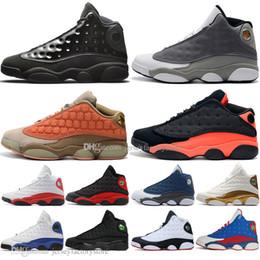 2019 laços infravermelhos 13 13s Cap E Vestido Dos Homens Sapatos de Basquete Atmosfera Cinza Terracota Blush Chicago Gato Preto Infrared Flints Produzido DMP homens tênis esportivos laços infravermelhos barato