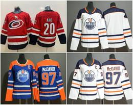 kinder jersey größen Rabatt Jugend Kinder Carolina # 20 Sebastian Aho Hurricanes Hockey Trikots Edmonton Oilers # 97 Connor McDavid Genähte Größe S-XL