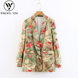 Chaquetas formales para mujer online-2019 Spring Women Suit Jacket Formal Blazer Fashion print Single Button Loose Womens Blazer Work Office Business Suit Outwear