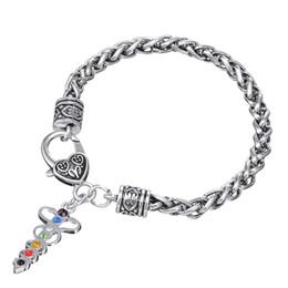 Canada BC11 nouvelle inscription diamant médical symbole de serpent pendentif en forme de coeur diamant ruban goutte huile pendentif bracelet en métal supplier ribbon bracelet diamonds Offre